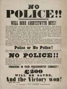 1800-luvulla kaupungissa oli puhetta poliisista, asia käsiteltiin onnistuneesti.
