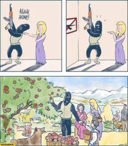 Kuva 1. Tämä on eräs asia, joka hieman sarkastisesti kuvastaa feminismin ja islamin välistä suhdetta.